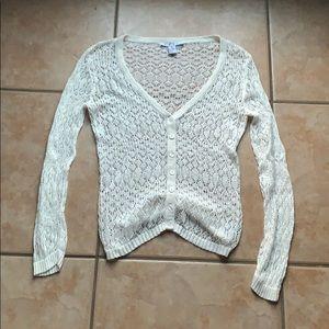 3/$30 CAbi Knit Eyelet Ivory Cardigan Size Small